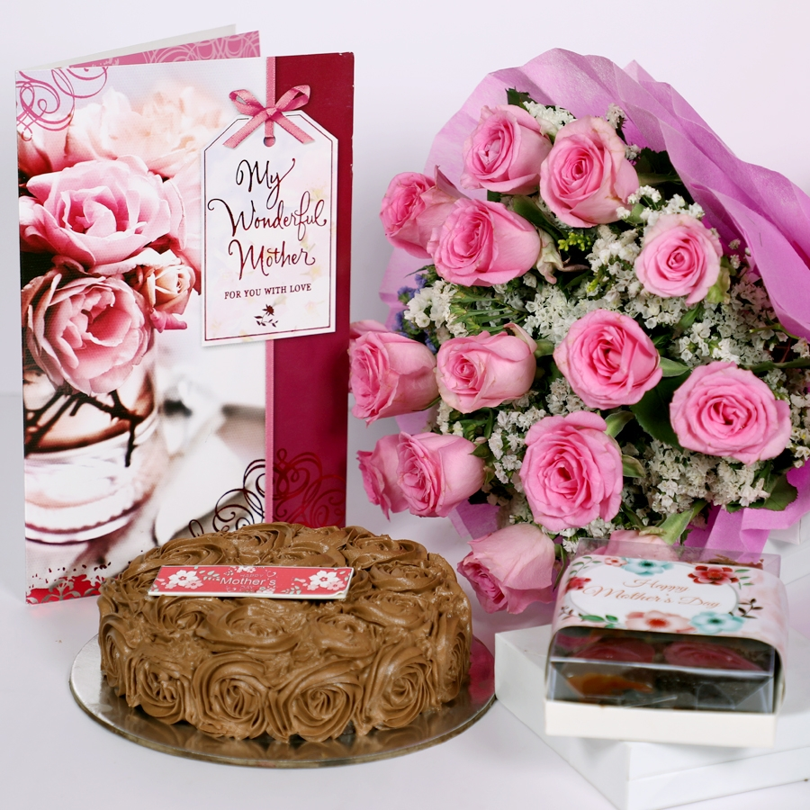 Mothers day Chocolate dutch truffle swirls 500gms with assorted brownies, card & bouquet of 15 pink roses
