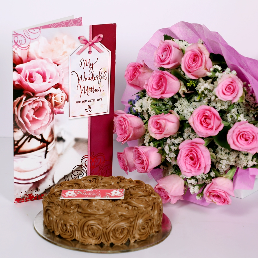 Mothers day Chocolate dutch truffle swirls 500gms with card & bouquet of 15 pinkroses