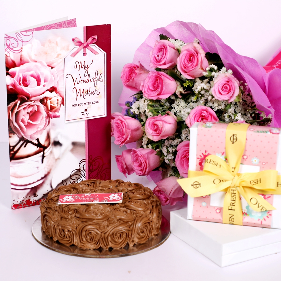 Mothers day Chocolate dutch truffle swirls 500gms with card,Box of 9 chocolate pralines & bouquet of 15 pinkroses