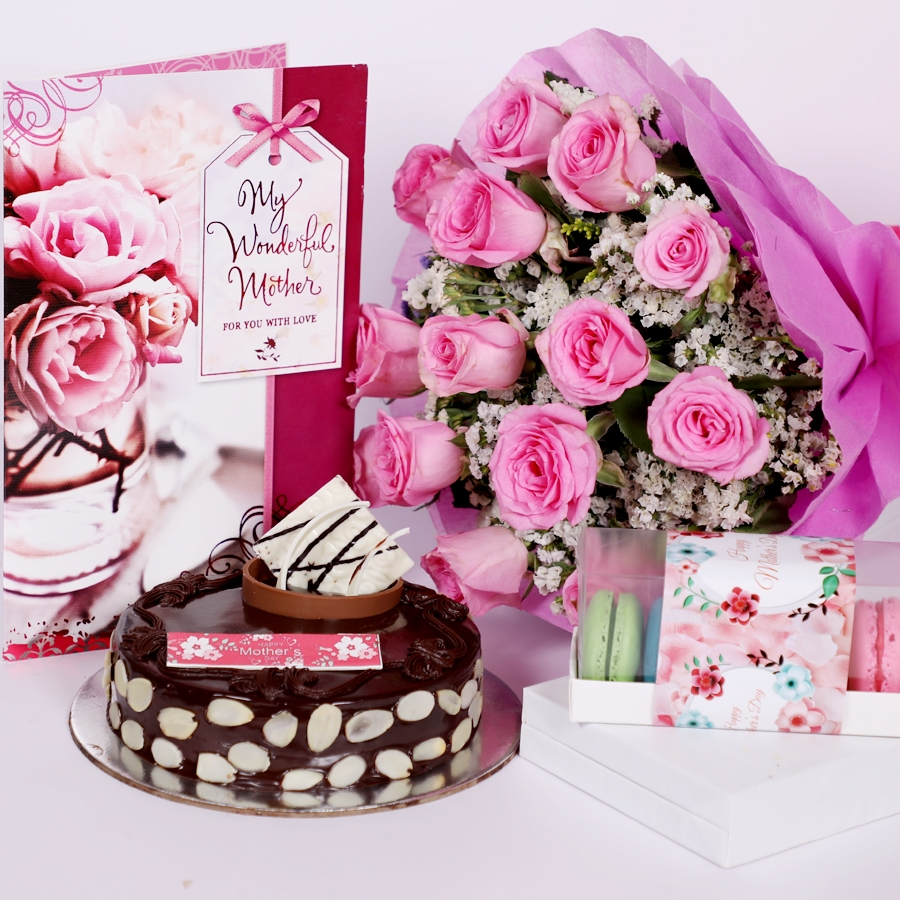 Mothers day Chocolate dutch truffle with almonds 500gms with card & bouquet of 15 pinkroses & Box of 5 macaroons