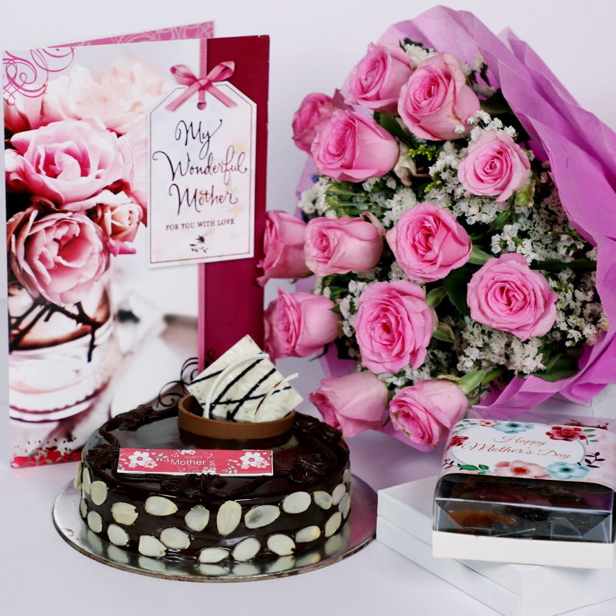 Mothers day Chocolate dutch truffle with almonds 500gms with card & bouquet of 15 pinkroses & box of 6pcs brownies
