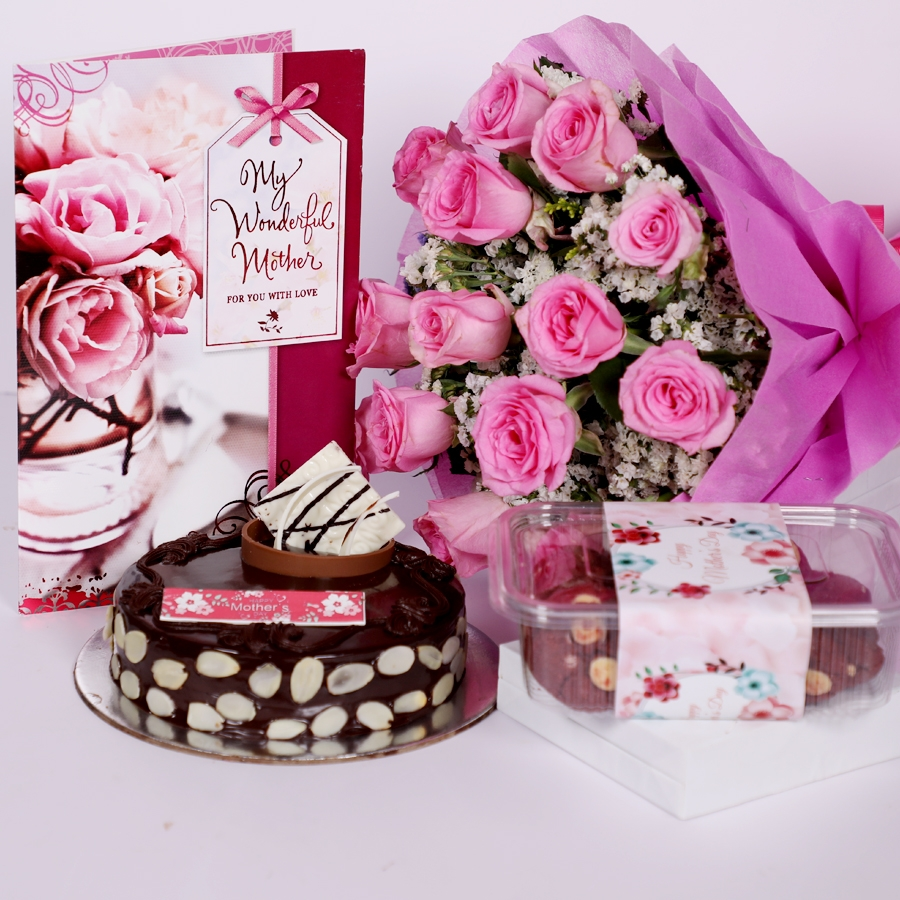 Mothers day Chocolate dutch truffle with almonds 500gms with card & bouquet of 15 pinkroses & Box of red velvet cookies 150gms