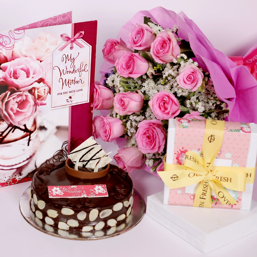 Mothers day Chocolate dutch truffle with almonds 500gms with card & bouquet of 15 pinkroses & Box of 9 chocolate pralines