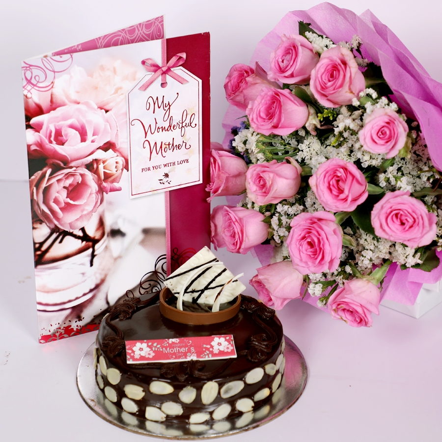 Mothers day Chocolate dutch truffle with almonds 500gms with card  & bouquet of 15 pinkroses