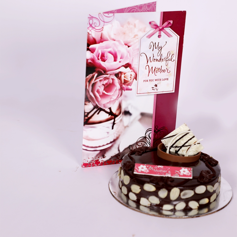Mothers day Chocolate dutch truffle with almonds 500gms with card
