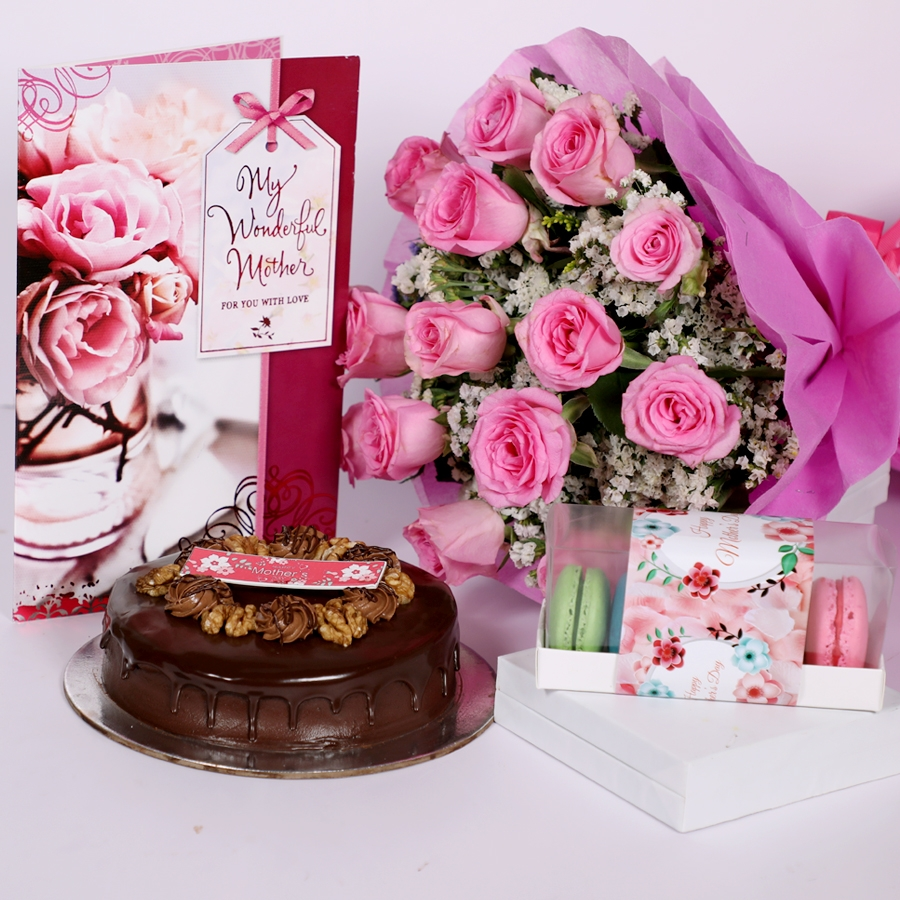 Mothers day Chocolate walnut dutch truffle cake 500gms with card & bouquet of 15 pinkroses & Box of 5 macaroons