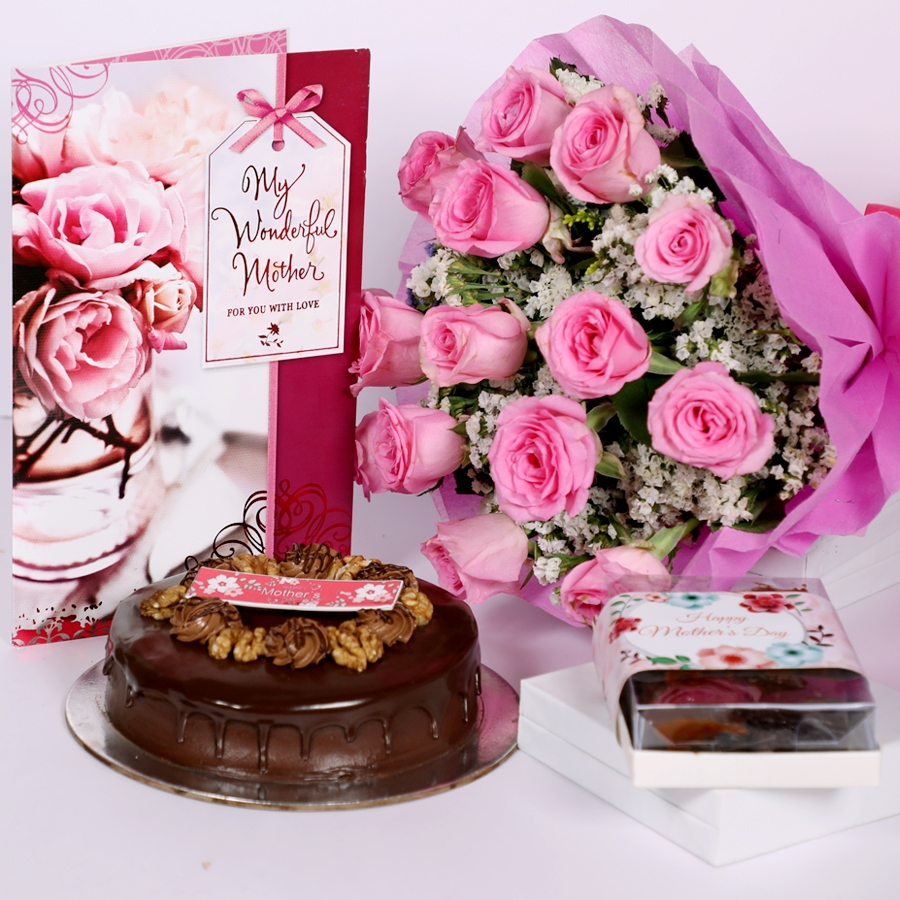 Mothers day Chocolate walnut dutch truffle cake 500gms with card & bouquet of 15 pinkroses & box of 6pcs brownies