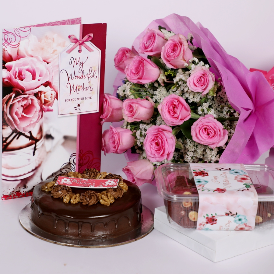 Mothers day Chocolate walnut dutch truffle cake 500gms with card & bouquet of 15 pinkroses & Box of  red velvet cookie 150gms