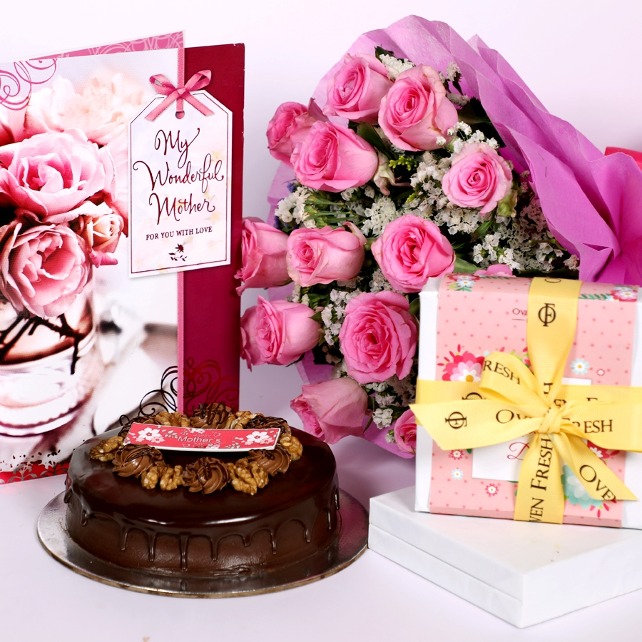 Mothers day Chocolate walnut dutch truffle cake  500gms with card & bouquet of 15 pinkroses & Box of 9 chocolate pralines