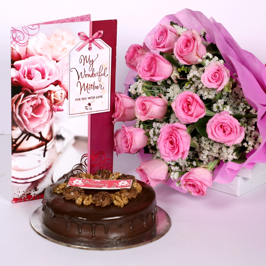 Mothers day Chocolate walnut dutch truffle cake 500gms with card & bouquet of 15 pinkroses