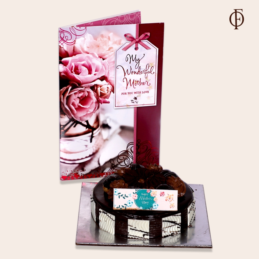 Mothers day choux bun 500gms  eggless 500gms and greeting card