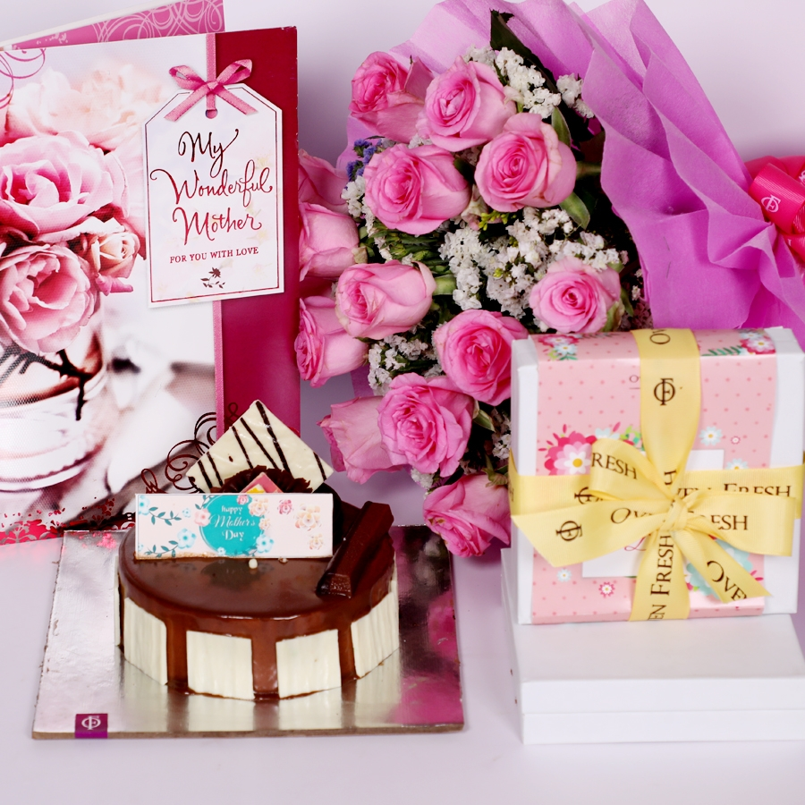 Mothers day Crunchy Hazelnut  eggless 500gms with box of 9pcs chocolate pralines Card and  boquet of 15 pink roses