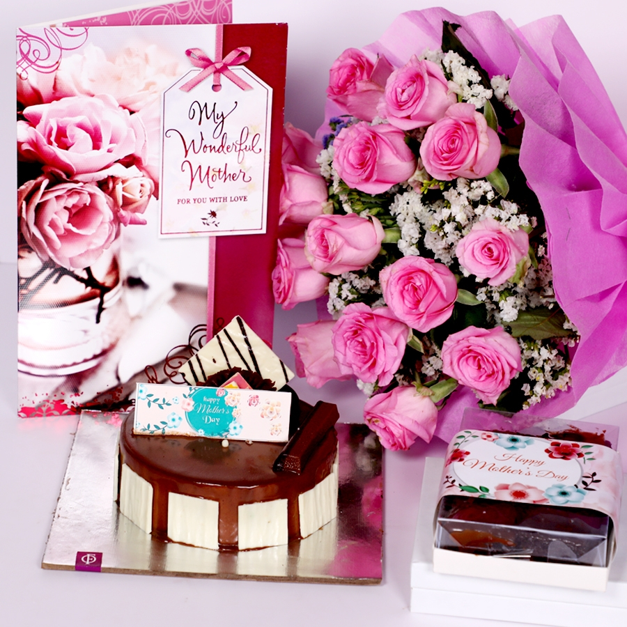 Mothers day Crunchy Hazelnut eggless 500gms with Card and boquet of 15 pink roses & box of 6pcs brownies