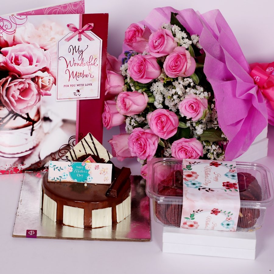 Mothers day Crunchy Hazelnut eggless 500gms with Card and boquet of 15 pink roses &  box of red velvet cookies(150gms)