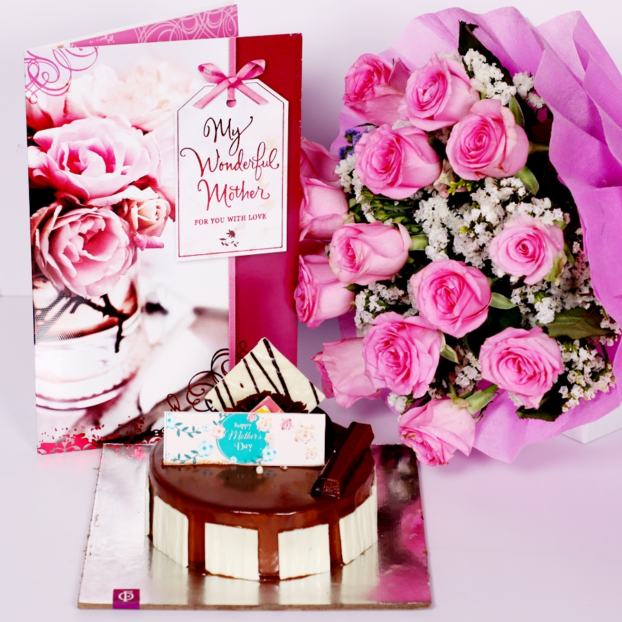 Mothers day Crunchy Hazelnut  eggless 500gms with Card and  boquet of 15 pink roses