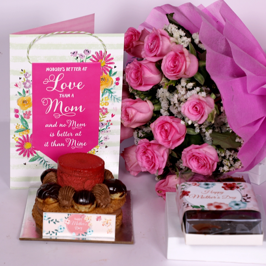Mothers Day Desire 3 with card and boquet of 15 pink roses and box of 6pcs brownies