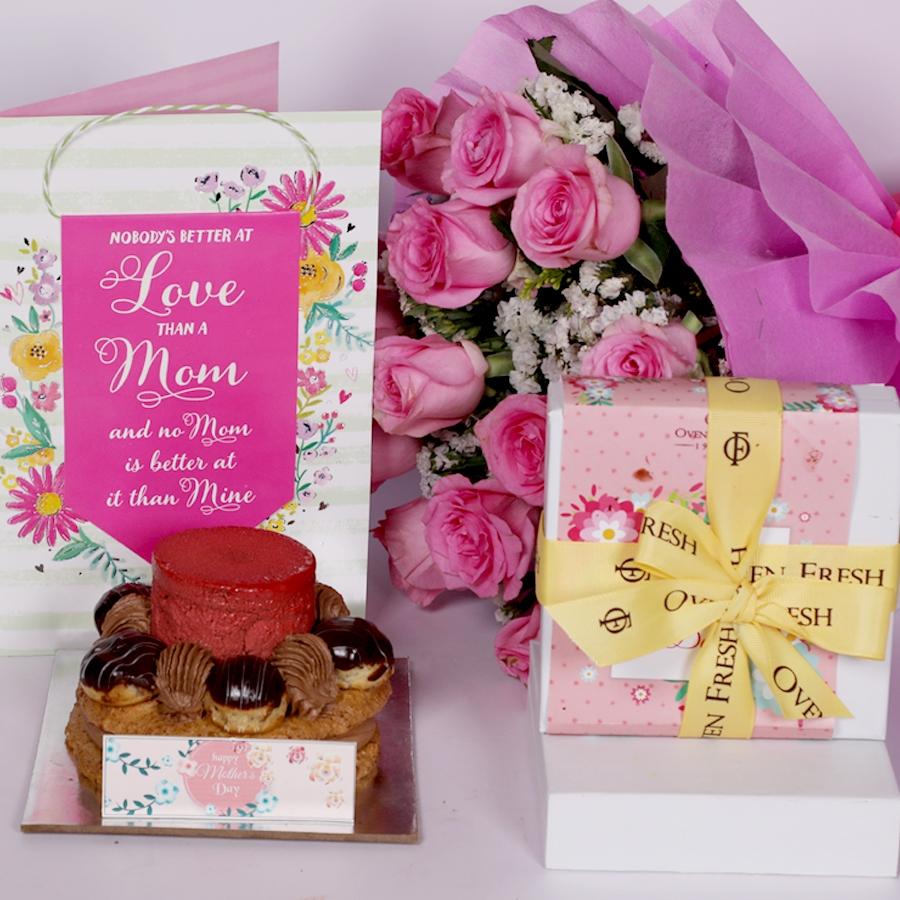 Mothers Day Desire 3 with card and boquet of 15 pink roses and box of 9pcs chocolate pralines