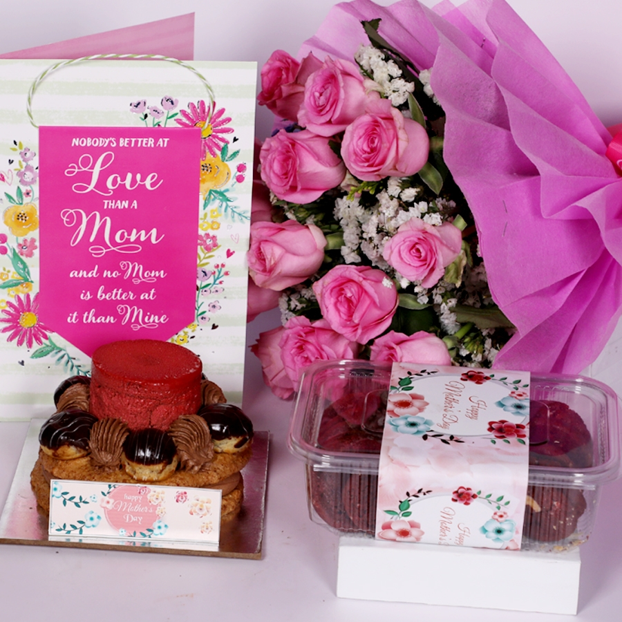 Mothers Day Desire 3 with card and boquet of 15 pink roses and  box of red velvet cookies(150gms)