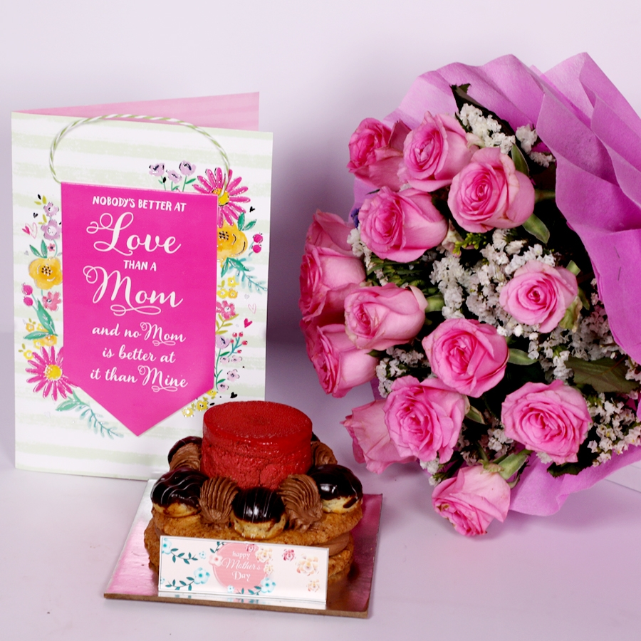 Mothers Day Desire 3 with card and boquet of 15 pink roses