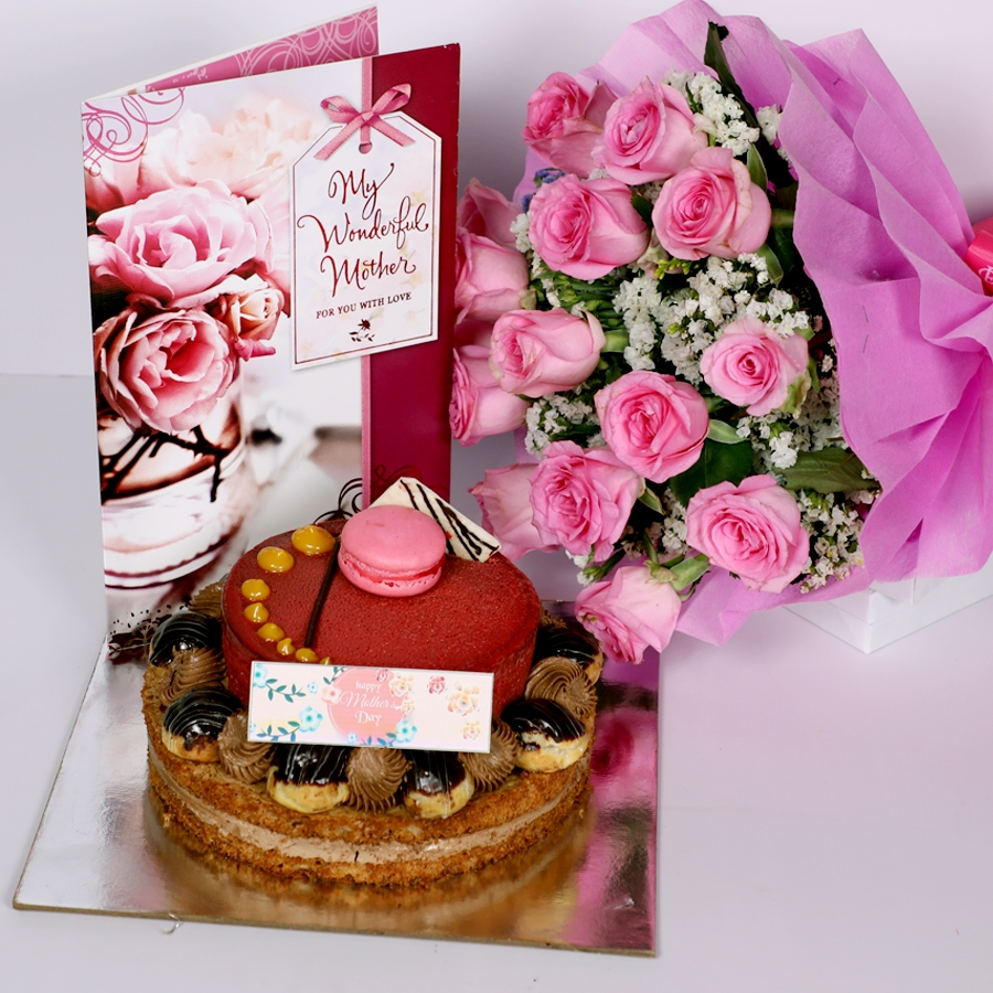 Mothers day Desire3 - 1kg with card & bouquet of 15 pinkroses