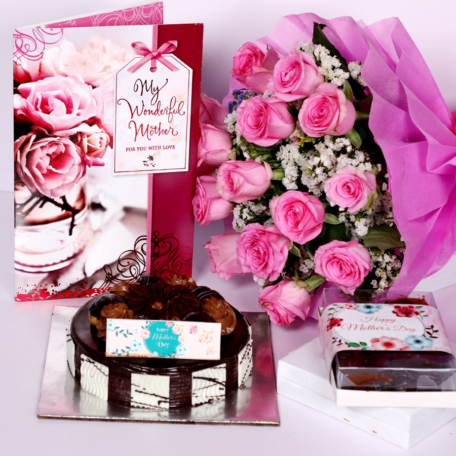Mothers day dutch truffle choux bun 500gms with,  box of assorted brownies, greeting card and Boquet of 15 pink roses