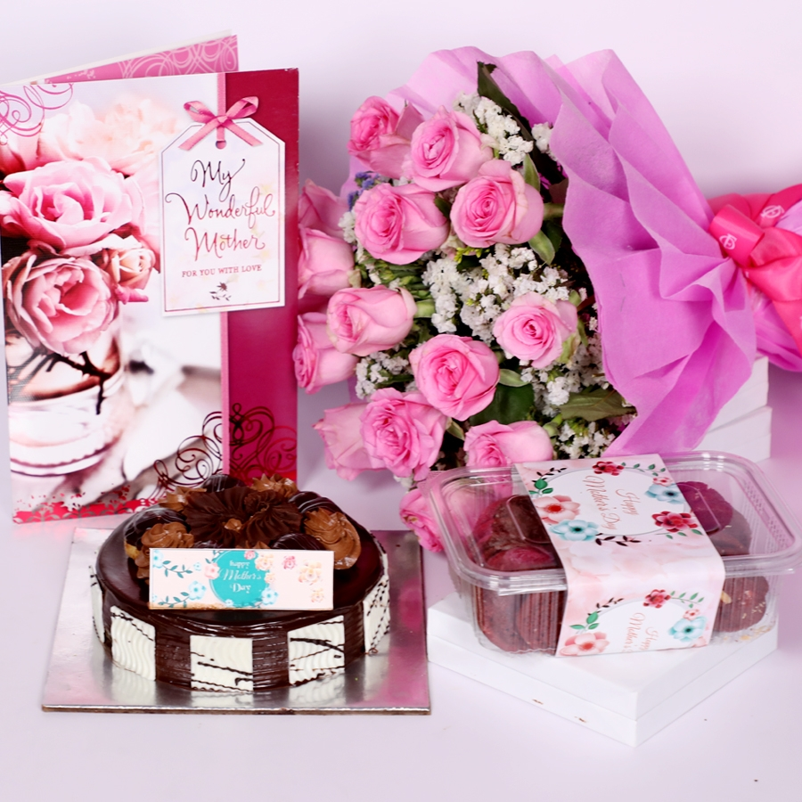 Mothers day dutch truffle choux bun 500gms with Card and boquet of 15 pink roses &  box of red velvet cookies(150gms)