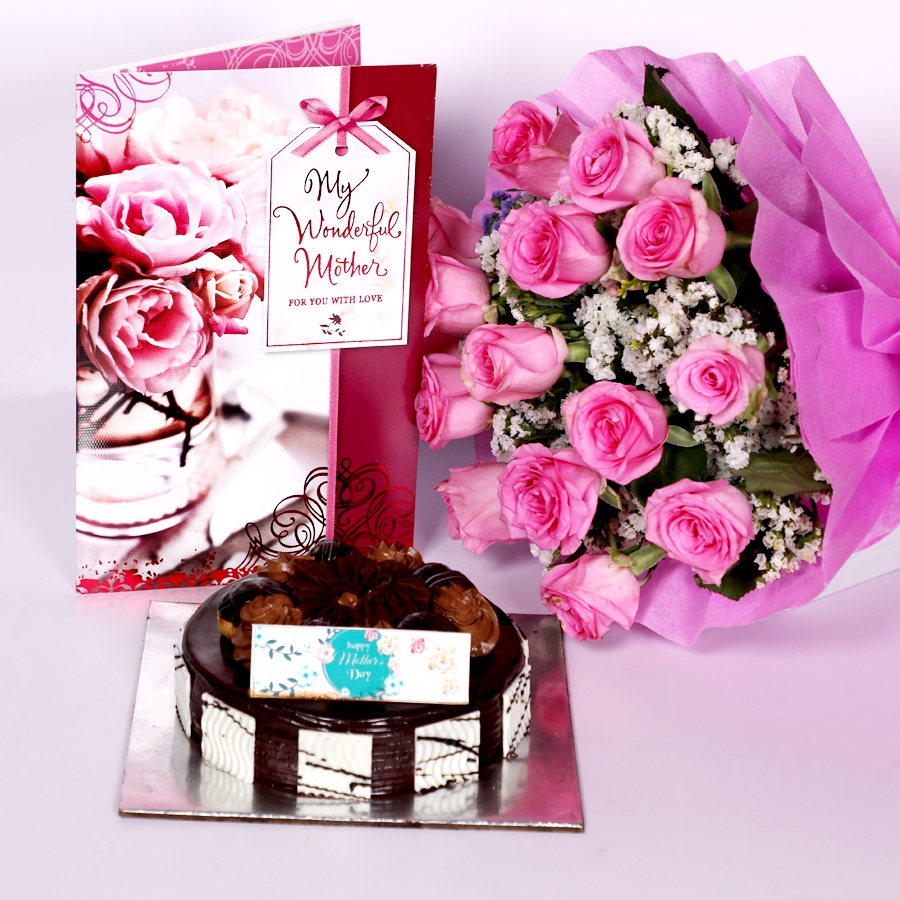 Mothers day dutch truffle choux bun 500gms with Card and boquet of 15 pink roses