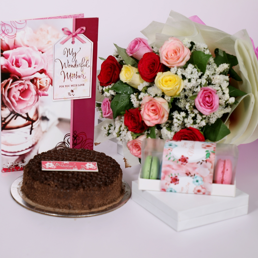 Mothers day Dutch truffle classic cake 500gms with card & bouquet of 12 mix roses & box of 5 macaroons