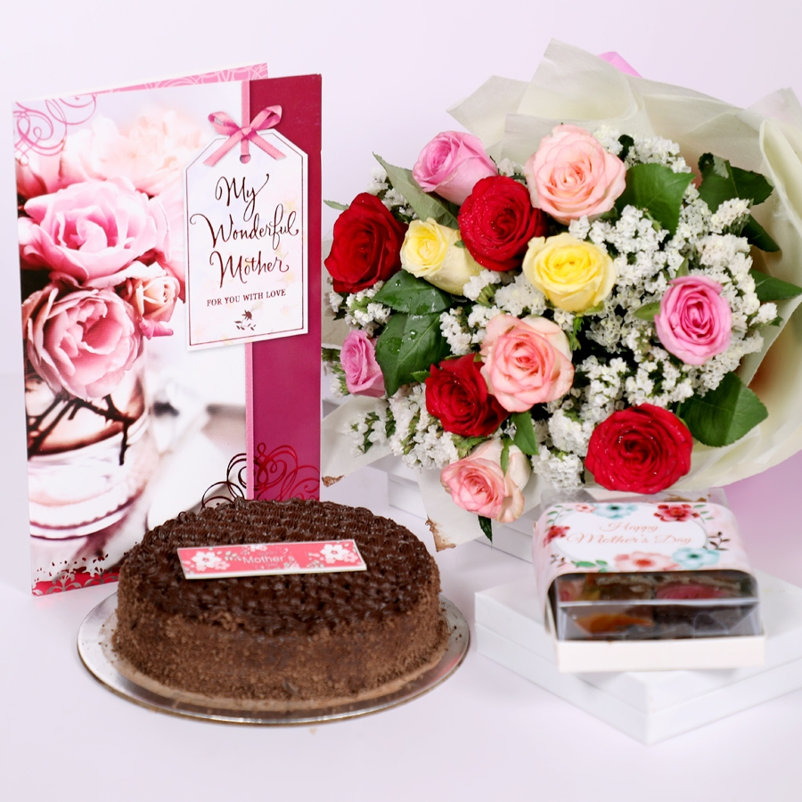 Mothers day Dutch truffle classic cake 500gms with card & bouquet of 12 mix roses & box of 6pc brownies