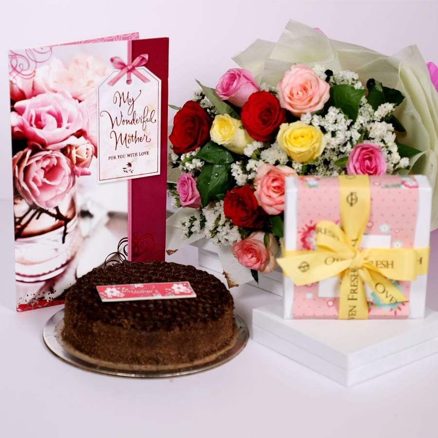 Mothers day Dutch truffle classic cake 500gms with card & bouquet of 12 mix roses & box of 9 chocolate pralines