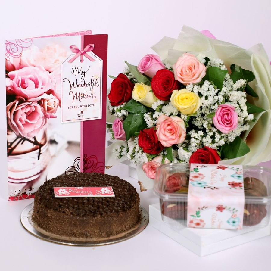 Mothers day Dutch truffle classic cake 500gms with card & bouquet of 12 mix roses & box of assorted cookies 150gms