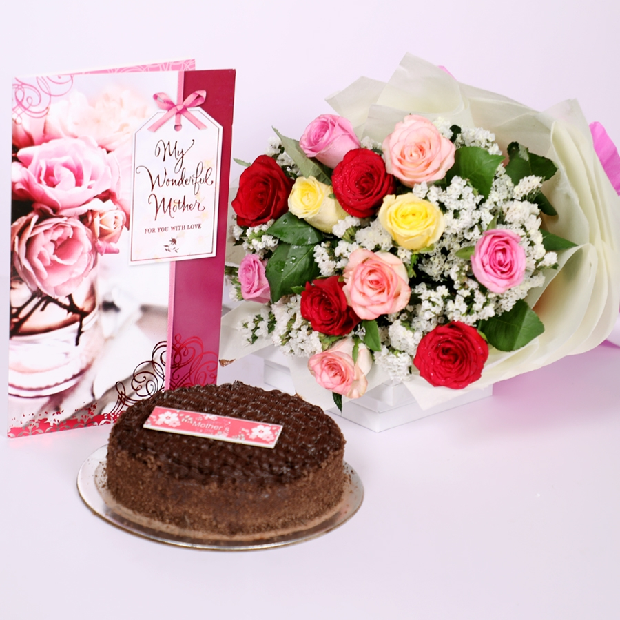 Mothers day Dutch truffle classic cake 500gms with card & bouquet of 12 mix roses