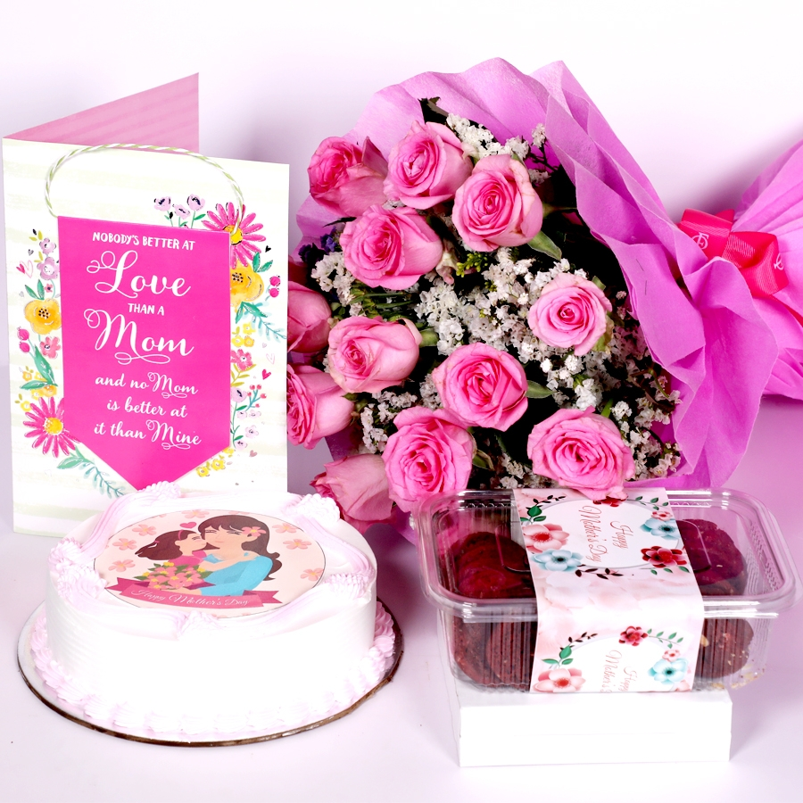 Mothers day Pink photo cake eggless 500gms With Card and Boquet of 15 pink Roses &  box of red velvet cookies(150gms)