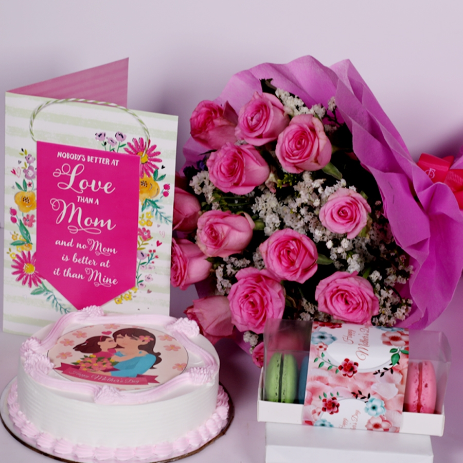 Mothers day Pink photo cake eggless 500gms With Card and Boquet of 15 pink Roses and box of 5 macarons