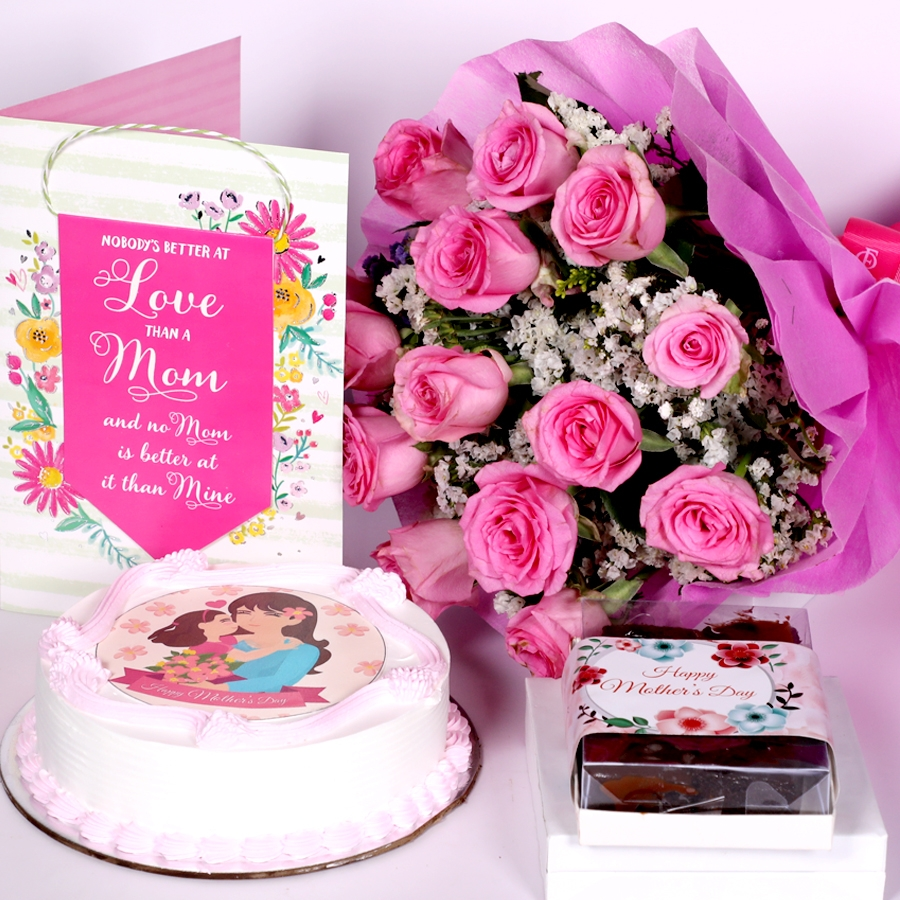 Mothers day Pink photo cake eggless 500gms With Card and Boquet of 15 pink Roses and box of 6pcs brownies