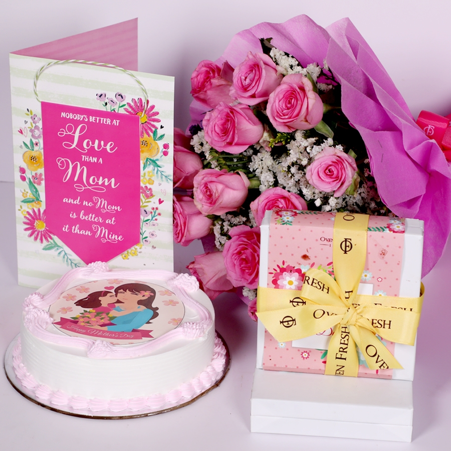 Mothers day Pink photo cake eggless 500gms With Card and Boquet of 15 pink Roses and box of 9pcs chocolate pralines