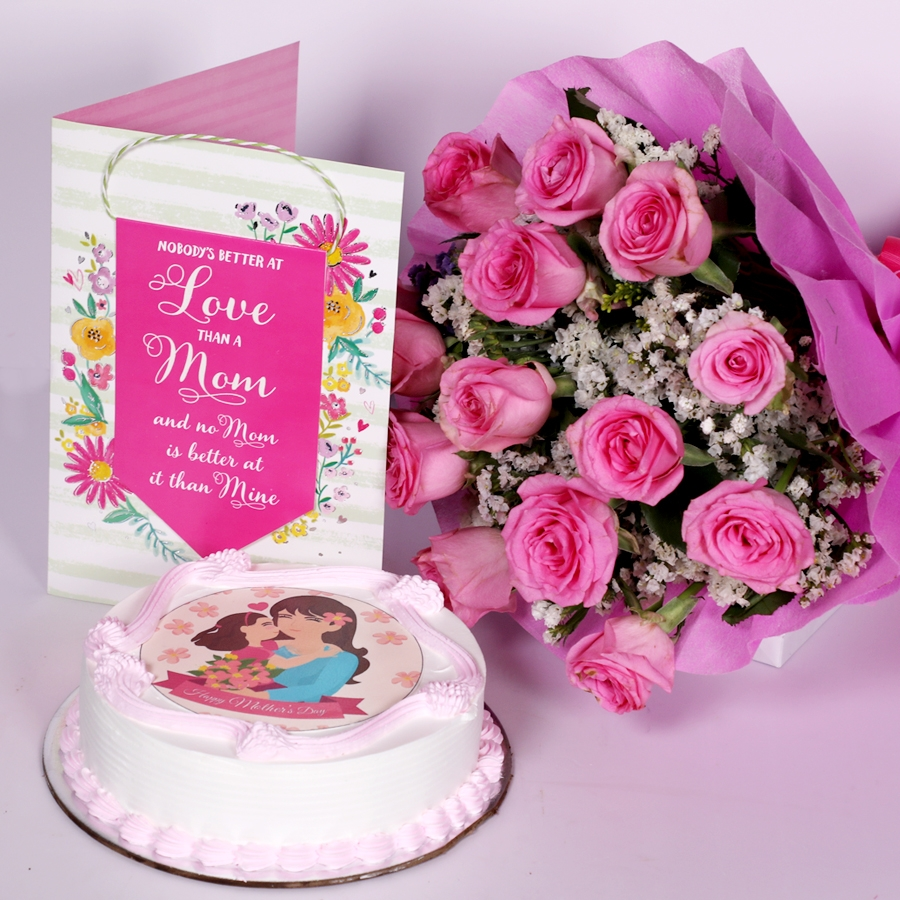 Mothers day Pink photo cake eggless 500gms With Card and Boquet of 15 pink Roses