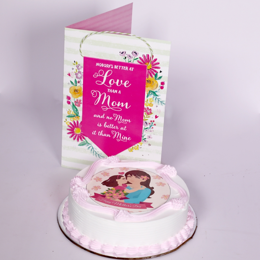 Mothers day Pink photo cake eggless 500gms With Card