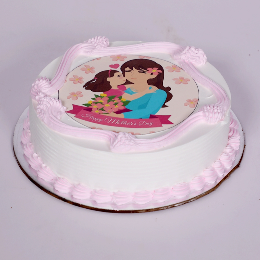 Mothers day Pink photo cake eggless 500gms