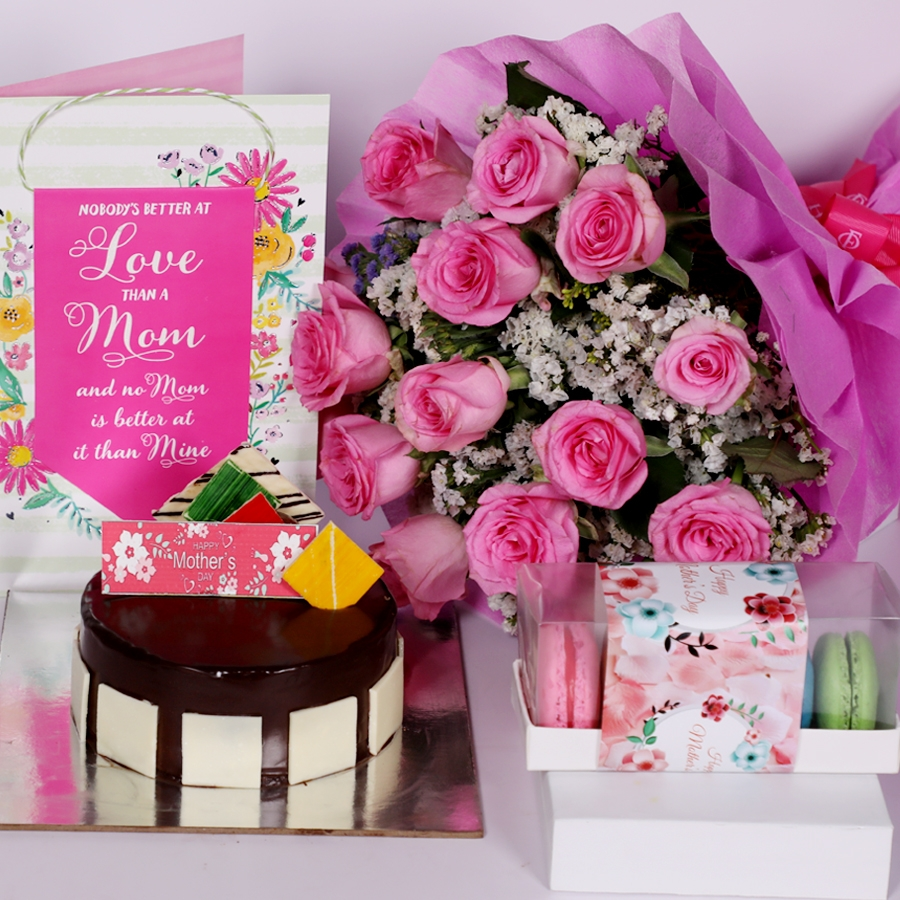Mothers day Royal Chocolate mousse cake eggless 500gms with card and boquet of 15 pink roses & box of 5 assorted Macarons
