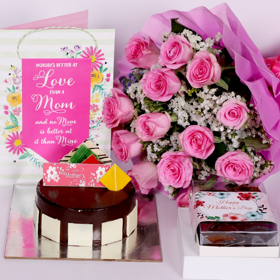 Mothers day Royal Chocolate mousse cake eggless 500gms with card and boquet of 15 pink roses & box of 6pcs brownies