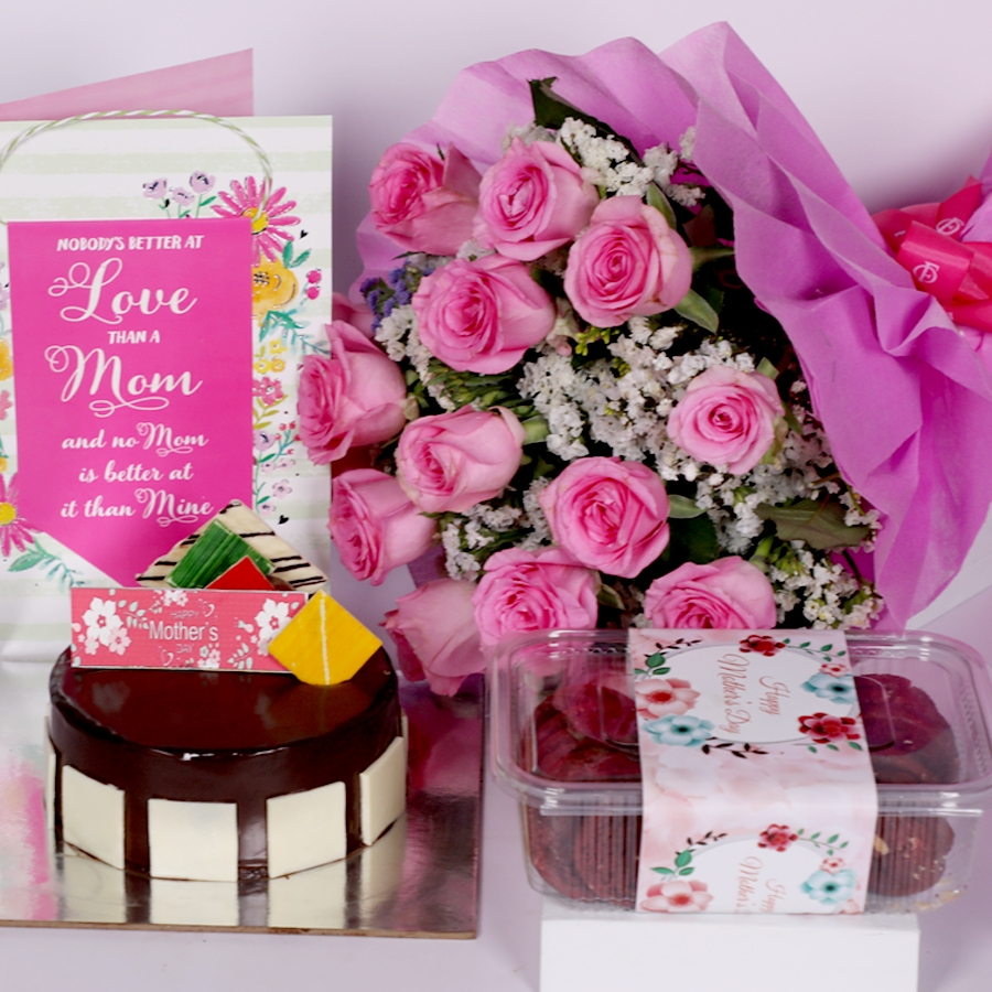 Mothers day Royal Chocolate mousse cake eggless 500gms with card and boquet of 15 pink roses &  box of red velvet cookies(150gms)