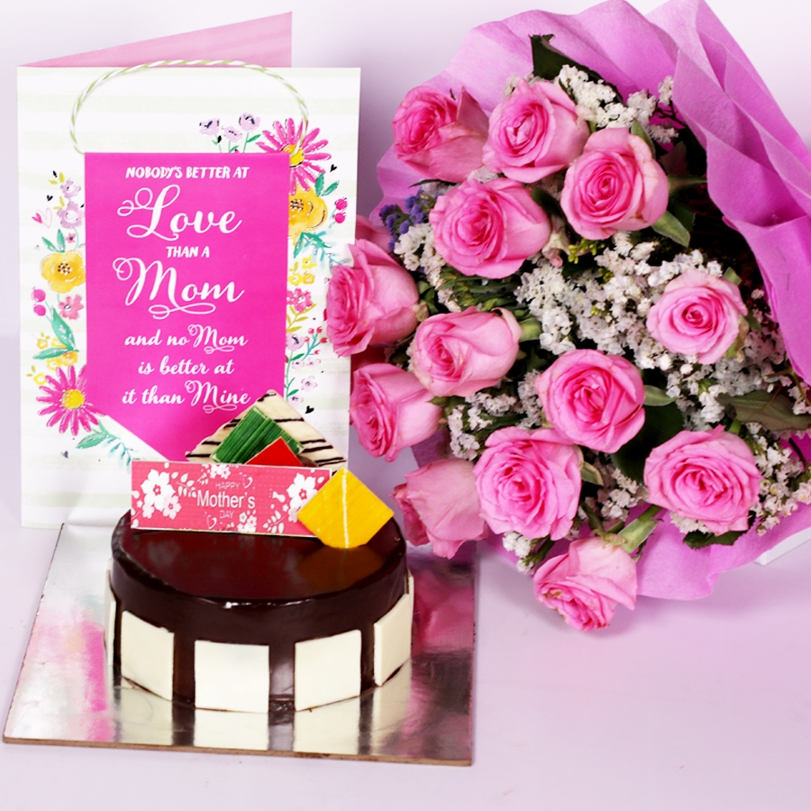 Mothers day Royal Chocolate mousse cake eggless 500gms with card and boquet of 15 pink roses
