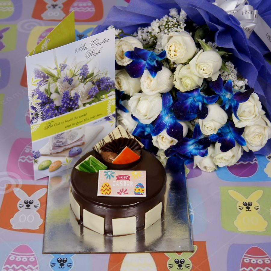 Royale Chocolate Mousse 500gms with card & bouquet of white roses and blue orchids