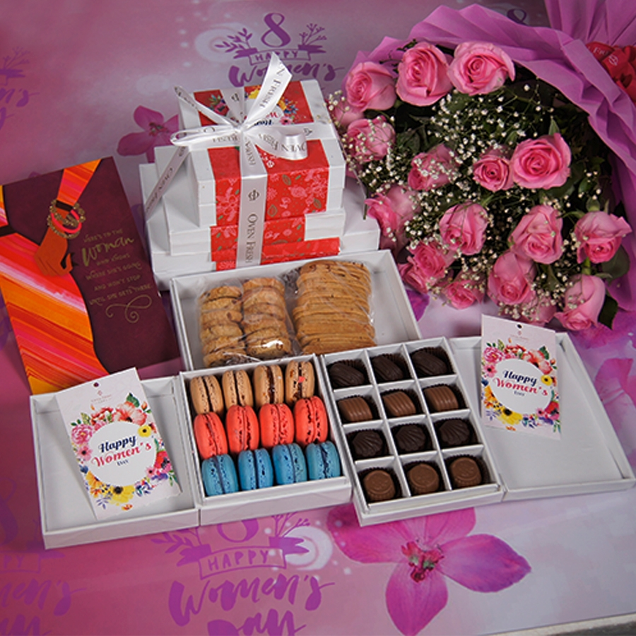 Women Day Stack of Boxes(Contains Egg)with card , bouquet of pink roses