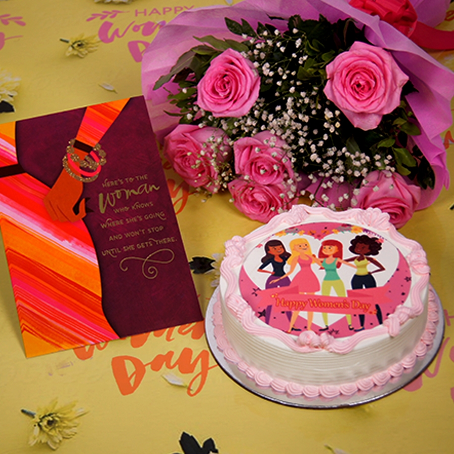 Womens day beauty  photo cake 500gms with card ,Bouquet of 6 Pink roses .