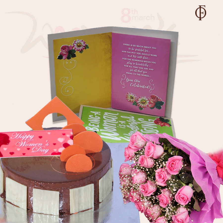 Women's Day Caramel Panacotta with Hazelnut Chocolate Mousse Cake 500gms, card and bouquet of 20 pink roses
