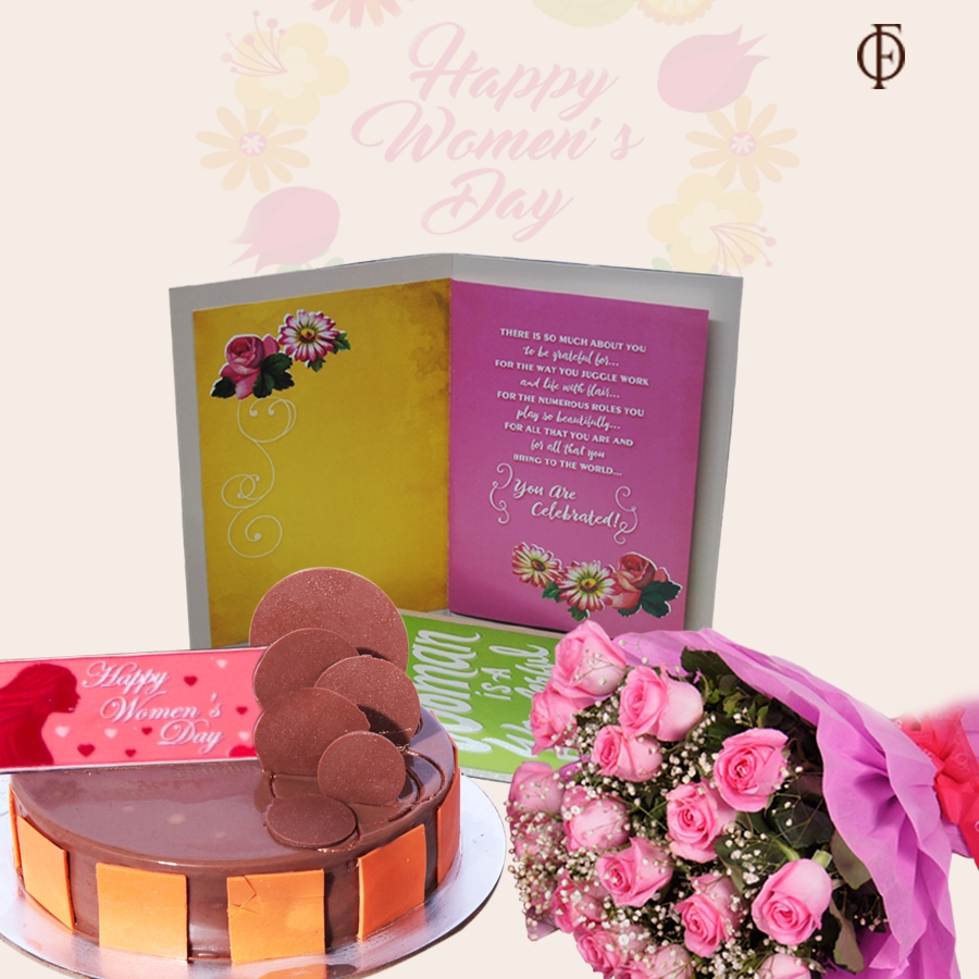 Women's Day Chocolate Almond Hazelnut cake 500gms, card and bouquet of 20 pink roses