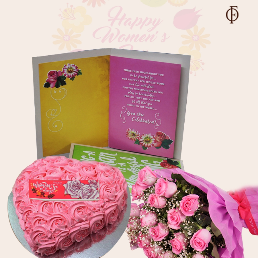 Women's Day Chcolate dutch truffle Pink swirls cake 500gms, card and bouquet of 20 pink roses