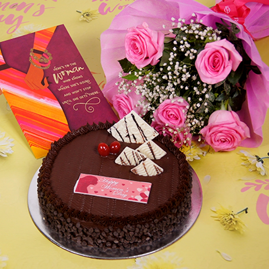 Womens day Chocolate Chip dutch truffle 500gms with card,Bouquet of 6 Pink roses.